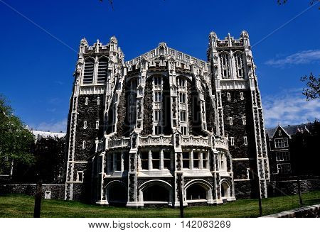 New York City - May 2 2015: Neo-gothic Shepard Hall at City College of New York on Convent Avenue in Hamilton Heights