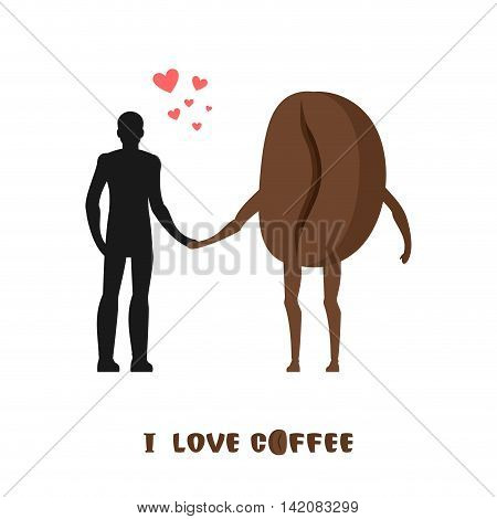 Coffee Lovers. Infatuated With Fragrant Drink. Man And Coffee Beans. Lovers Holding Hands. Romantic