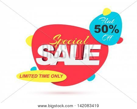 Special Sale with Flat 50% Off for Limited Time Only, Creative colorful Poster, Banner or Flyer design, Vector illustration.