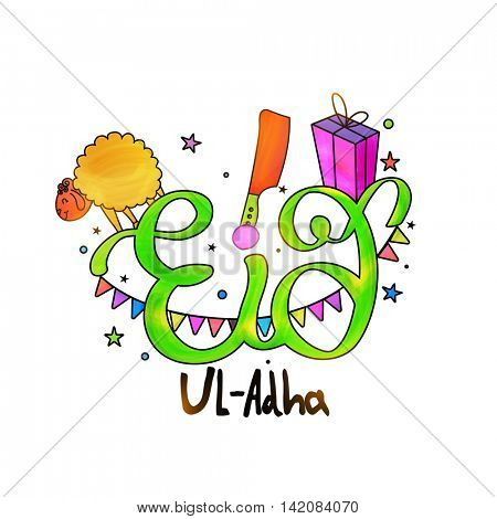 Glossy Text Eid-Al-Adha with creative elements like Sheep, Cleaver Knife and Gift on stars decorated background for Muslim Community, Festival of Sacrifice Celebration.
