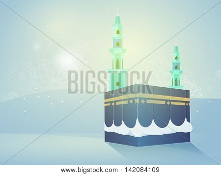 Creative illustration of Kaaba, Mekkah. Islamic sacred Masjid-Al-Haram on glossy, Desert background.