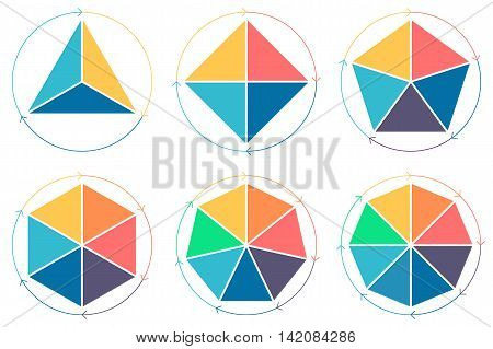 Triangle, square, pentagon, hexagon, heptagon, octagon for infographics with circular arrows Vector design elements