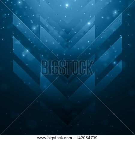 Shiny blue abstract arrows background, Creative hi-tech pattern with geometric elements.