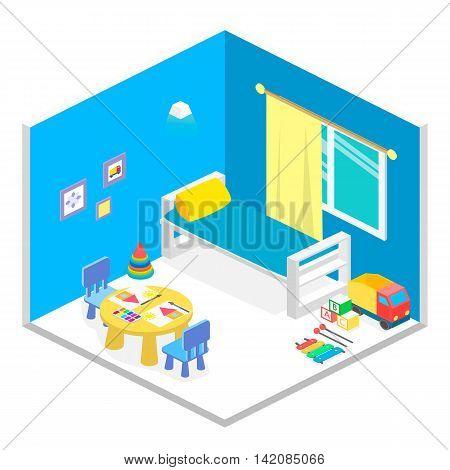 Child Playroom Isometric Icon Set Vector Graphic Illustration Design