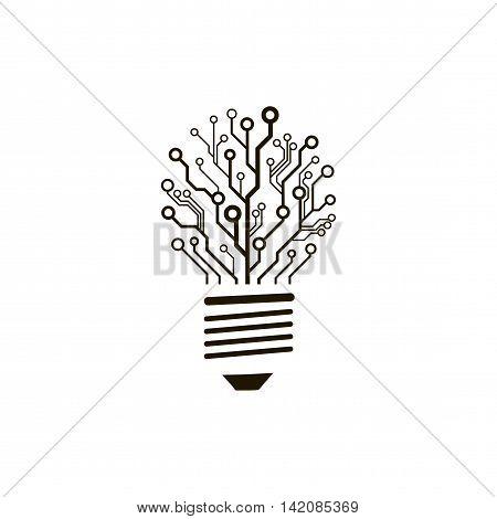 A concept of information technology logo. Vector circuit board bulb.