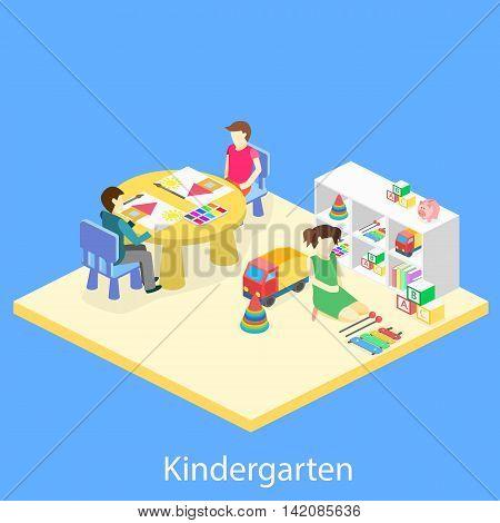 Isometric Interior Of Room In The Kindergarten.