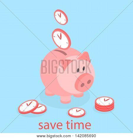 Time is Money Piggy Bank. Save time flat 3D Illustration