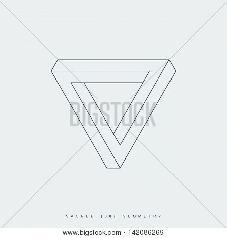 sacred geometry. thin line penrose triangle. impossible geometric shape. optical illusion. esoteric or science symbol. isolated on white background. vector illustration
