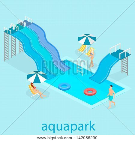 flat 3d isometric summer aquapark. Waterslide at the pool