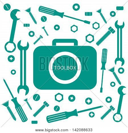 Nice picture of a colored bag with a variety of tools for quick repairs on a white background