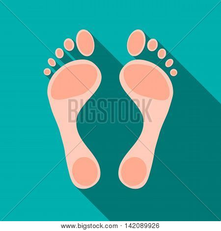 Human feet icon in flat style isolated with long shadow