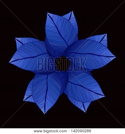 Bright blue leaves circle. Degrade color. Foliage
