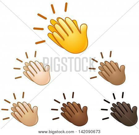 Clapping hands sign set of various skin tones