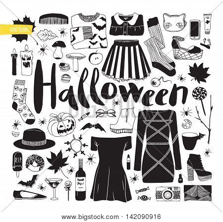 Items for Halloween. Black and white vector illustration. Autumn set. Clothes, shoes and items.