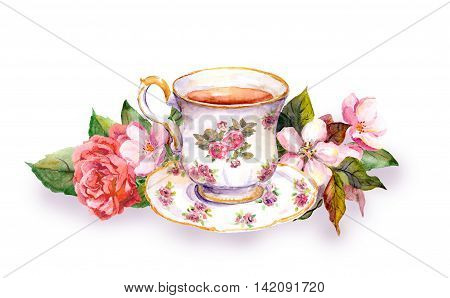 Teacup and tea pot with pink flowers - rose and cherry blossom. Watercolor