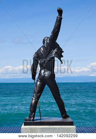 Montreux Switzerland - July 14 2012: Freddie Mercury statue on the shore of Geneva lake.