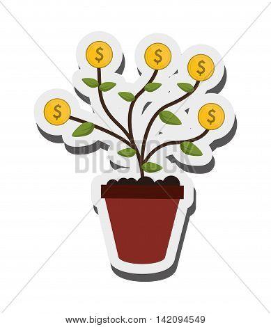 flat design money plant icon vector illustration