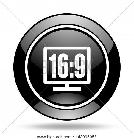 16 9 display black glossy icon
