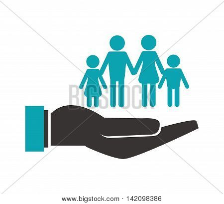 flat design shelter hand with family icon vector illustration