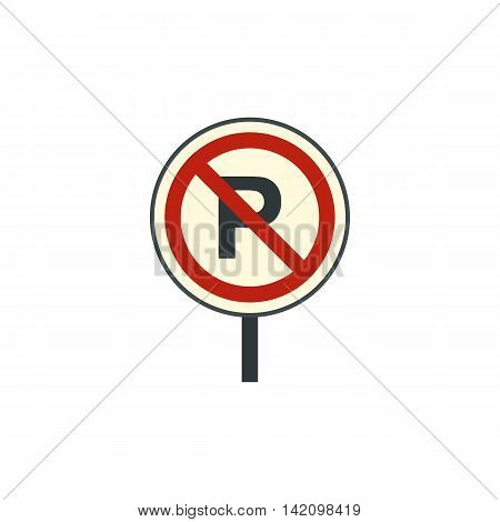 Parking is prohibited icon in flat style isolated on white background. Forbidden symbol