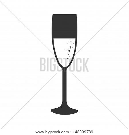 champagne drink glass alcohol liquid crystal vector graphic isolated and flat illustration