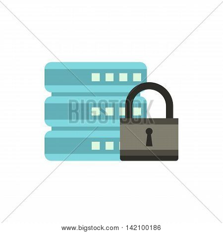 Data retention protection icon in flat style isolated on white background. Security symbol