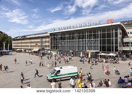 COLOGNE GERMANY - AUG 7 2016: Forecourt of the central train station (german Hauptbahnhof) in the city of Cologne. North Rhine-Westphalia Germany