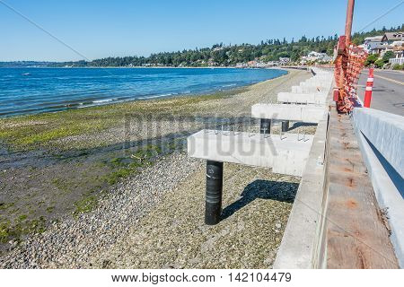 A panoramic view of Redondo Beach with new walkway construction.