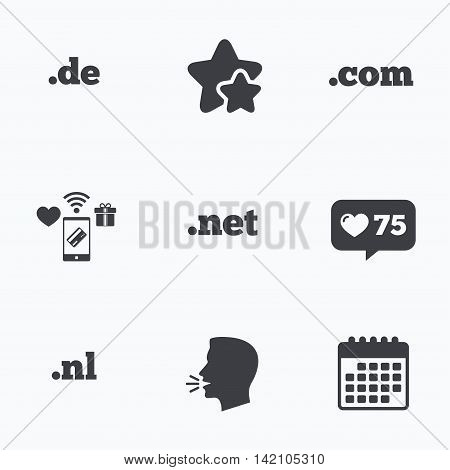 Top-level internet domain icons. De, Com, Net and Nl symbols. Unique national DNS names. Flat talking head, calendar icons. Stars, like counter icons. Vector