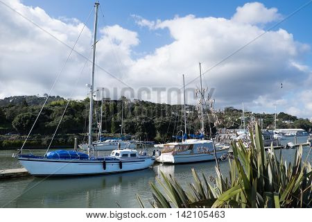 Boats moored at Whangarei town basin in the marina - Northland New Zealand NZ.