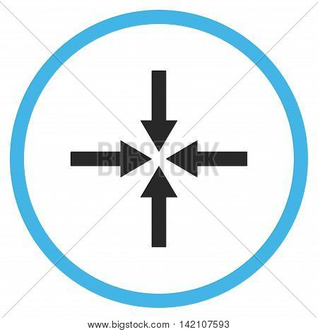 Impact Arrows glyph icon. Style is bicolor flat rounded iconic symbol, impact arrows icon is drawn with blue and gray colors on a white background.