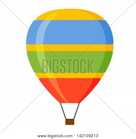 Illustration aerostats flat icons cartoon graphic. Modern balloon aerostat transport sky hot fly adventure journey and old vector air ballon travel transportation flight airship.