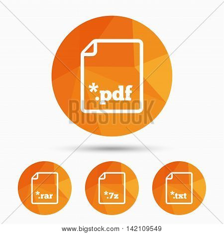 Download document icons. File extensions symbols. PDF, RAR, 7z and TXT signs. Triangular low poly buttons with shadow. Vector