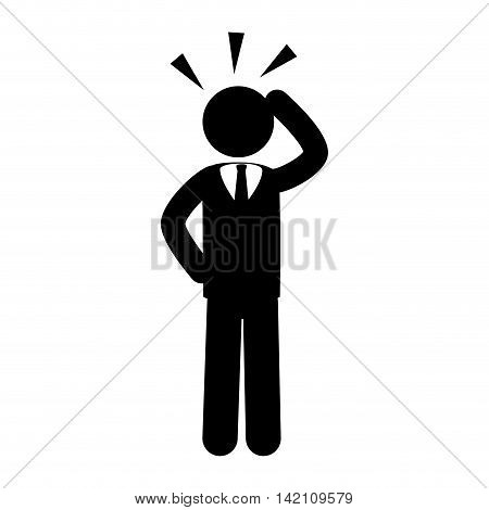 business thinker hand head  businessperson man suit silhouette tie vector graphic isolated and flat illustration
