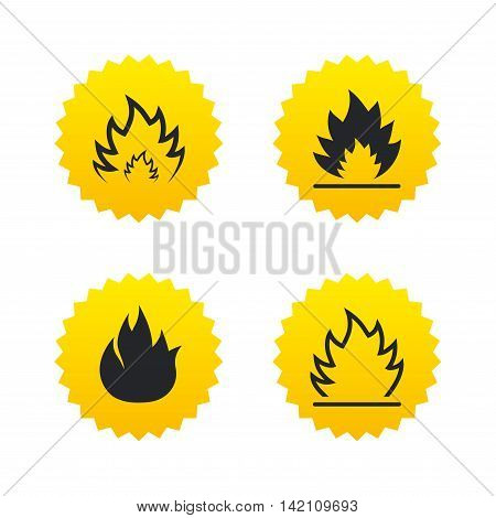 Fire flame icons. Heat symbols. Inflammable signs. Yellow stars labels with flat icons. Vector