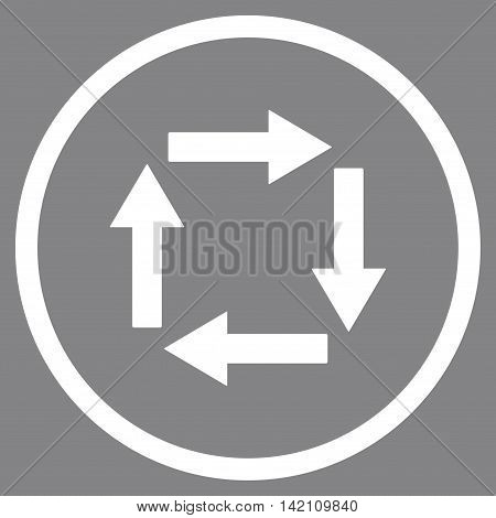 Circulation Arrows vector icon. Style is flat rounded iconic symbol, circulation arrows icon is drawn with white color on a gray background.
