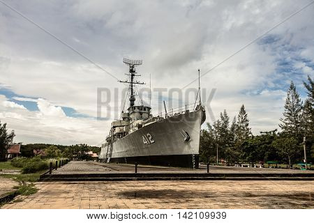 Rayong Thailand - August 06 2016: Prasae Frigate 412 Of Royal Thai Navy Shown As For Tourists On An Overcast Day At Rayong Province Thailand.