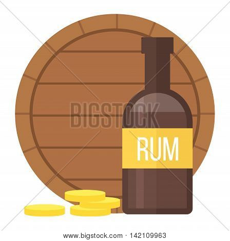 Pirate rum bottle on white background. Old style bottle, drink rum bottle. Vector rum bottle brown color reflection alcoholic cocktail for pirates