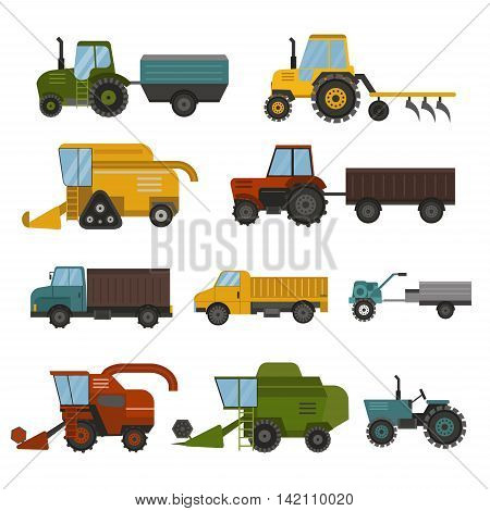 Set of different types of agricultural vehicles and machines harvesters, combines and excavators. Icon set of agricultural harvest machines with accessories for plowing, mowing, planting harvesting.