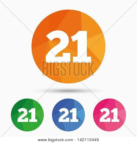 21 years old sign. Adults content icon. Triangular low poly button with flat icon. Vector
