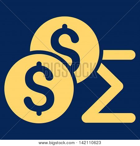 Coin Summary icon. Vector style is flat iconic symbol with rounded angles, yellow color, blue background.