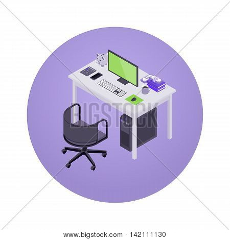 Accountant workplace. 3D isometric vector concept illustration