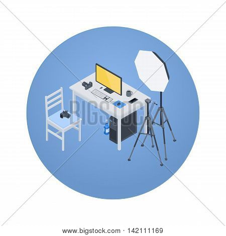 Photographer workplace. 3D isometric vector concept illustration