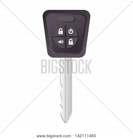 car key buttons door alarm single security  vector graphic isolated and flat illustration