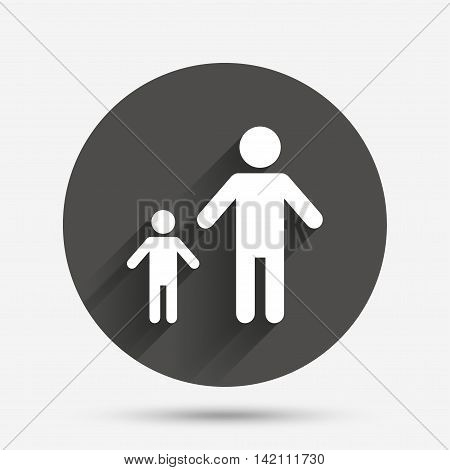 One-parent family with one child sign icon. Father with son symbol. Circle flat button with shadow. Vector