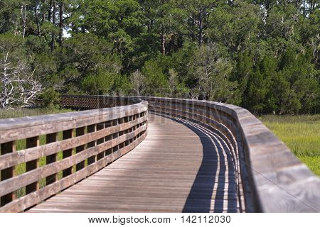 A Wooden bicycle road at Jekyll Island