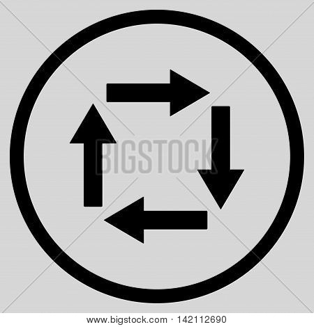 Circulation Arrows vector icon. Style is flat rounded iconic symbol, circulation arrows icon is drawn with black color on a light gray background.