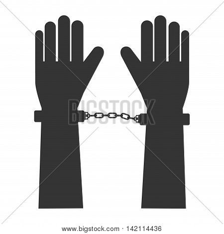 hand handcuff man person human fingers guilty crime vector graphic isolated and flat illustration