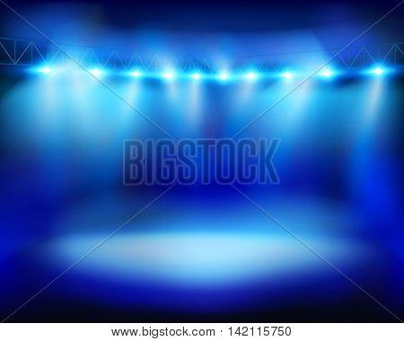 Illuminated stadium. Vector illustration.