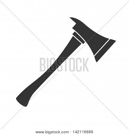 axe fireman steel tool ax wooden handle hack vector graphic isolated illustration poster
